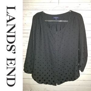 Lands' End Black Polka Dots Blouse | Siz…